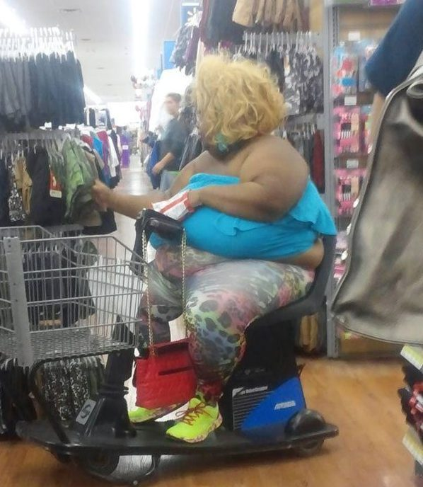 crazy dressed up lady at walmart