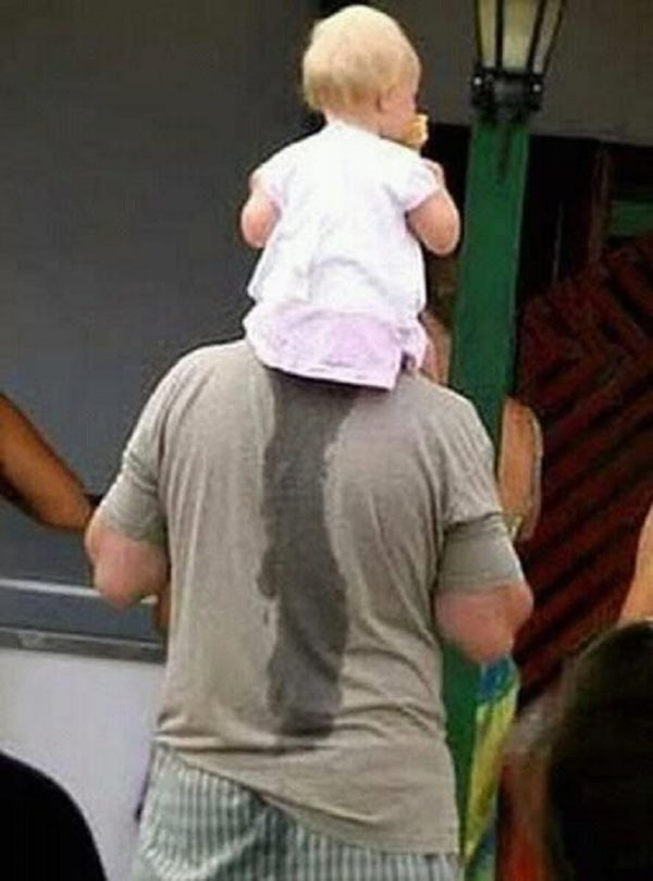 Child peed on father's back